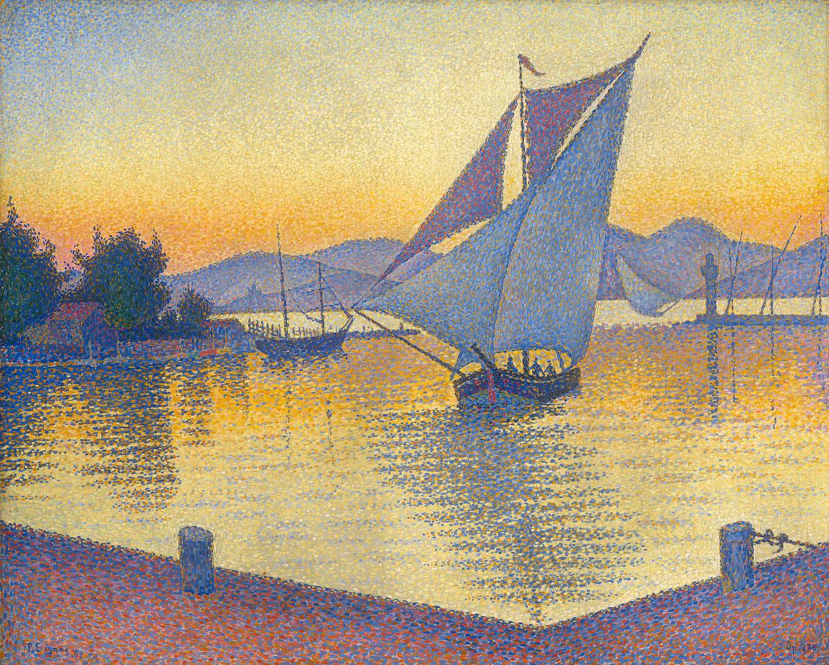 Paul Signac: Der Hafen bei Sonnenuntergang, 1892, Öl auf Leinwand, 65 x 81 cm, Sammlung Hasso Plattner